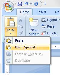 How to PowerPoint - paste special in PowerPoint